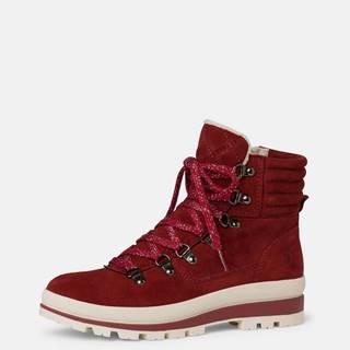 Červené dámske semišové zimné topánky Tamaris