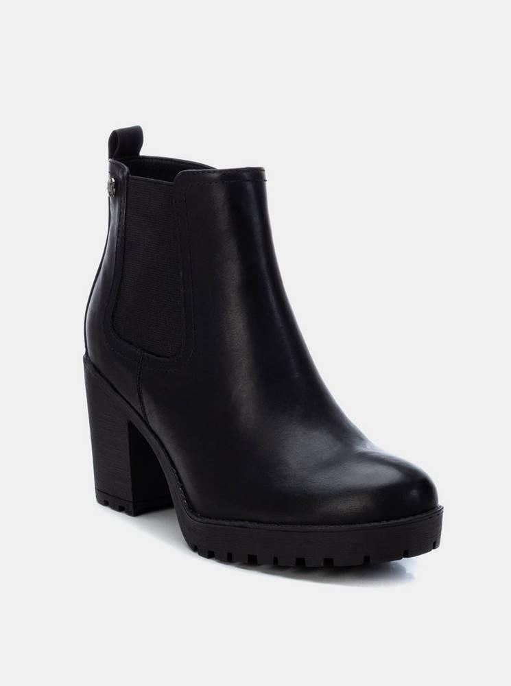 Xti Čierne dámske členkové topánky na podpätku Xti