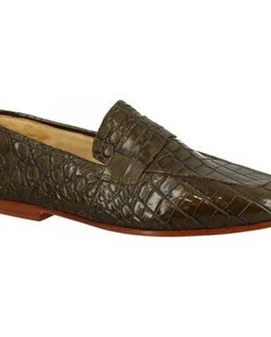 Mokasíny Leonardo Shoes  TRENTO COCCO VERDE