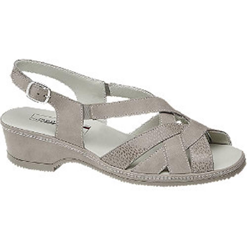 Medicus Svetlosivé kožené komfortné sandále Medicus