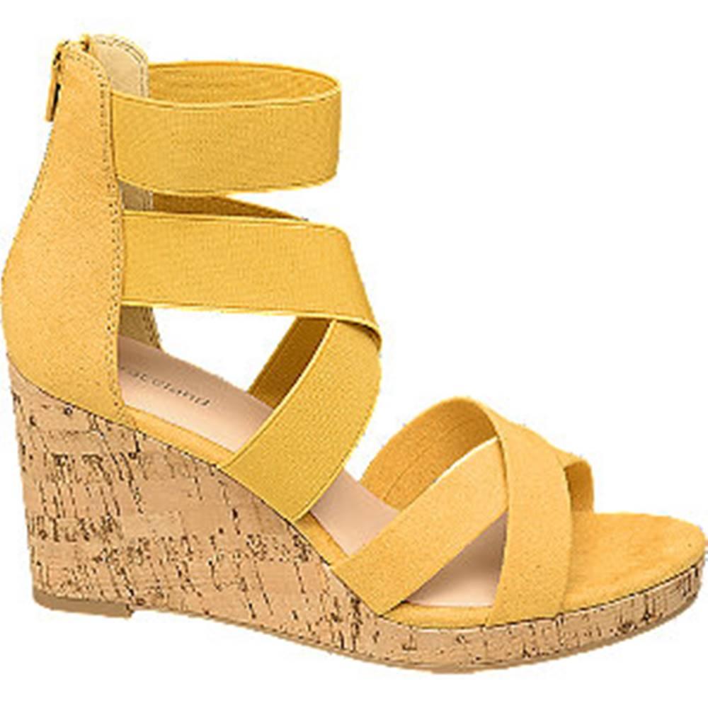 Graceland Žlté sandále na klinovom podpätku Graceland
