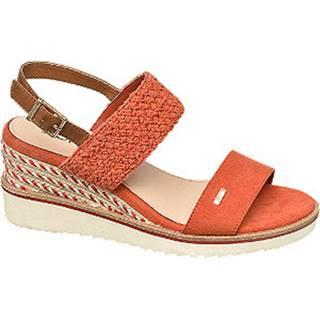 Oranžové sandále na klinovom podpätku Esprit