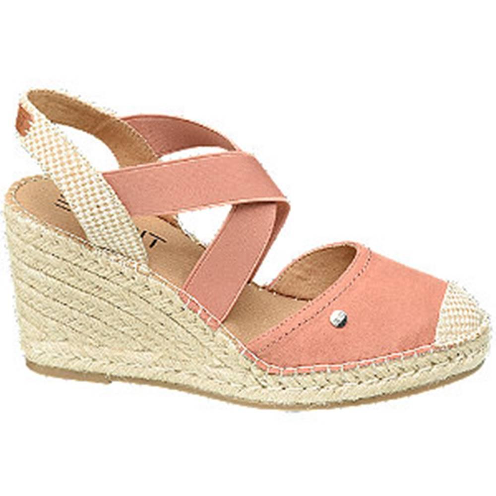 Esprit Ružové sandále na klinovom podpätku Esprit