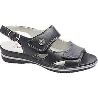 Čierne kožené komfortné sandále Medicus