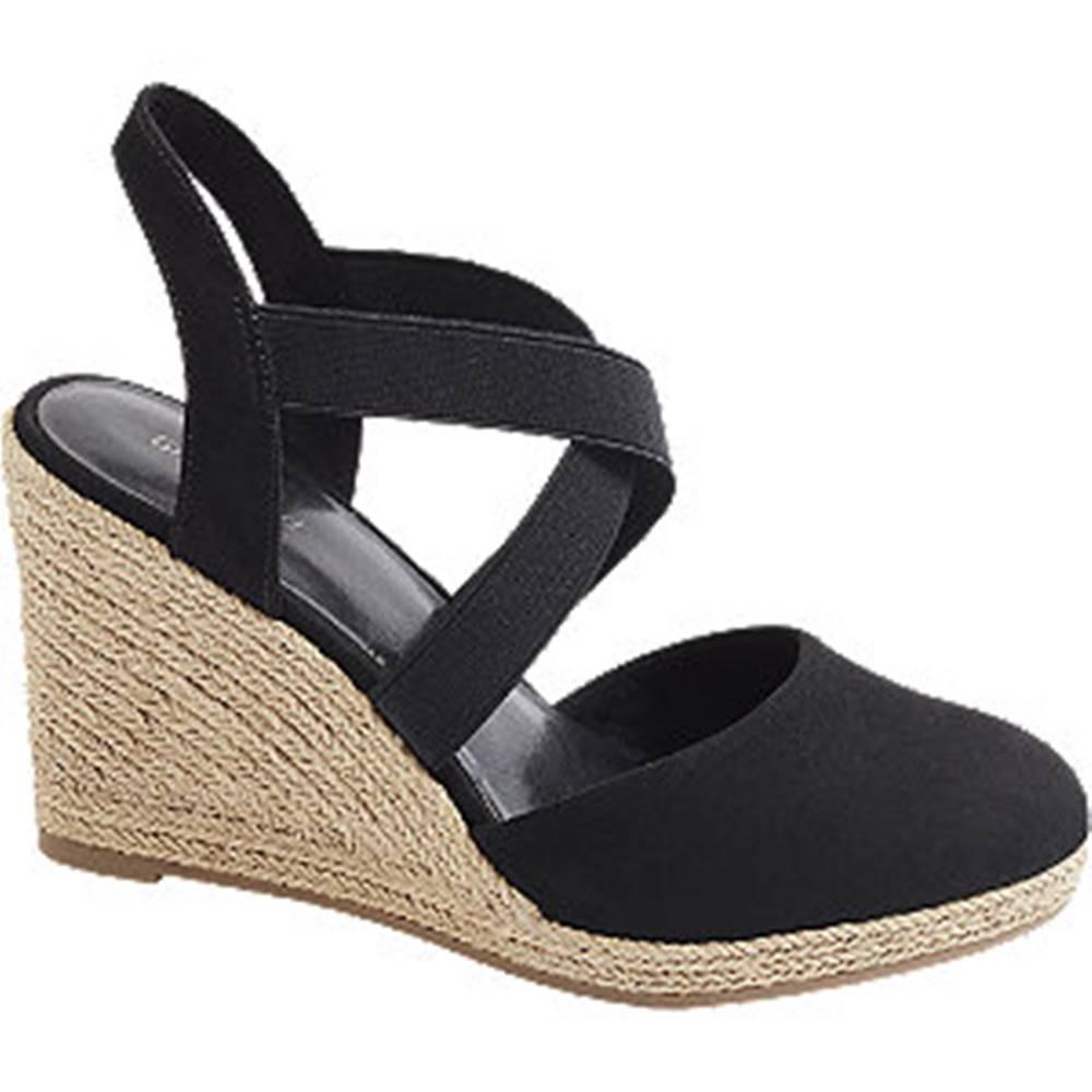 Graceland Čierne sandále na klinovom podpätku Graceland
