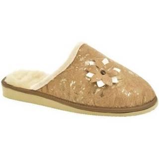 Papuče John-C  Dámske hnedé papuče FLOWA 2