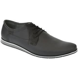 Derbie Krezus  Pánske kožené čierne topánky IVEN