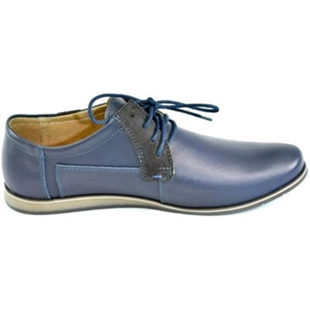Krezus Derbie Krezus  Pánske kožené modré topánky IVEN