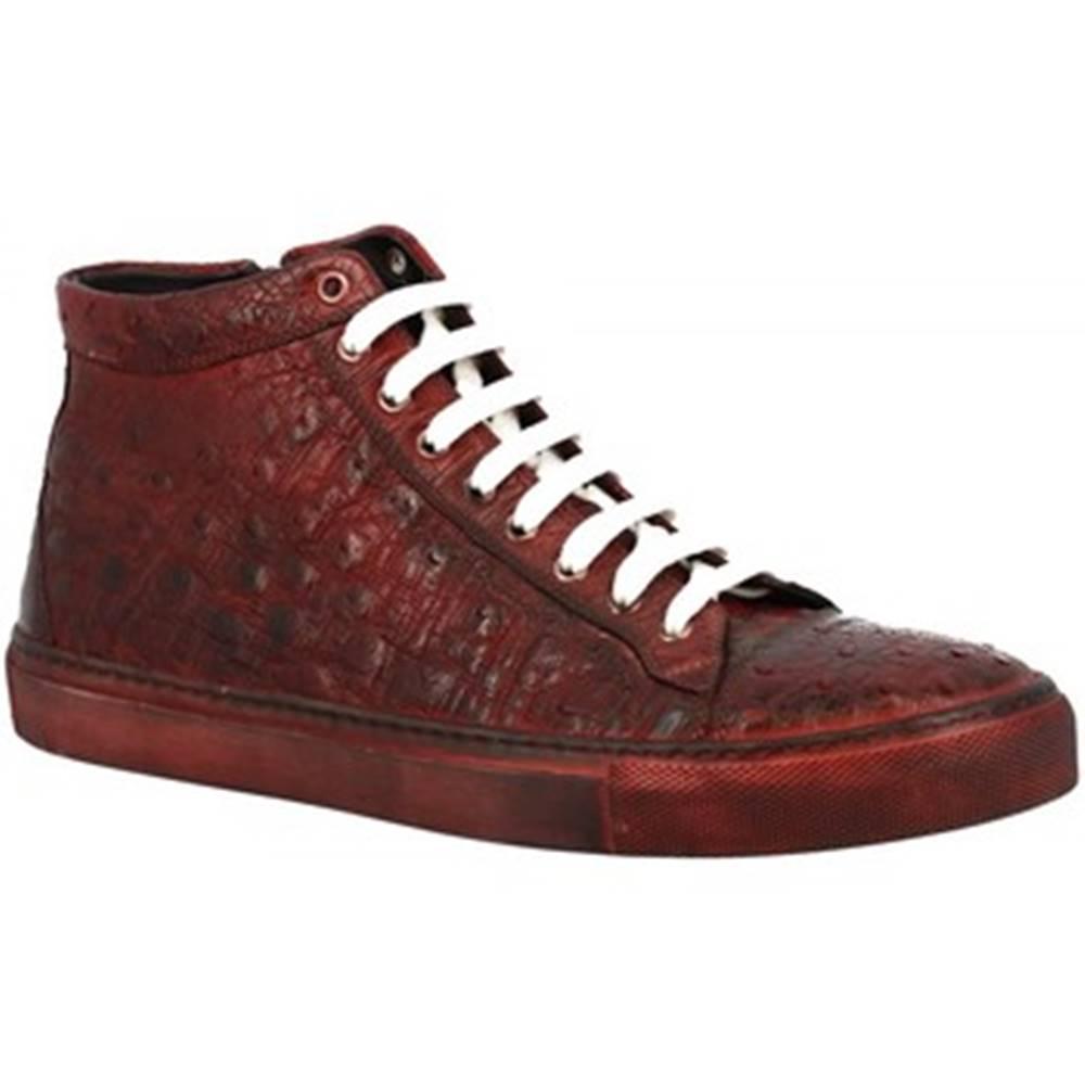 Leonardo Shoes Polokozačky Leonardo Shoes  LUCCA STRUZZO BORDEAUX