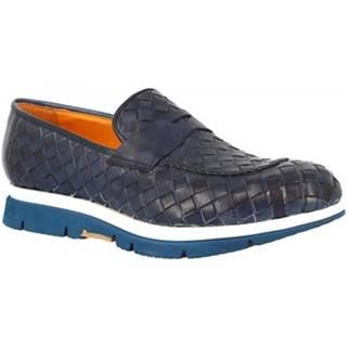 Mokasíny Leonardo Shoes  RUN05 PE VITELLO BLUE