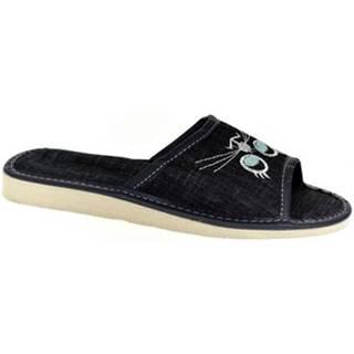 Papuče John-C  Dámske tmavo-modré papuče CATTY