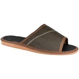 Papuče John-C  Pánske hnedé papuče VIGO