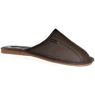 Papuče John-C  Pánske tmavo-hnedé papuče GIVELLI