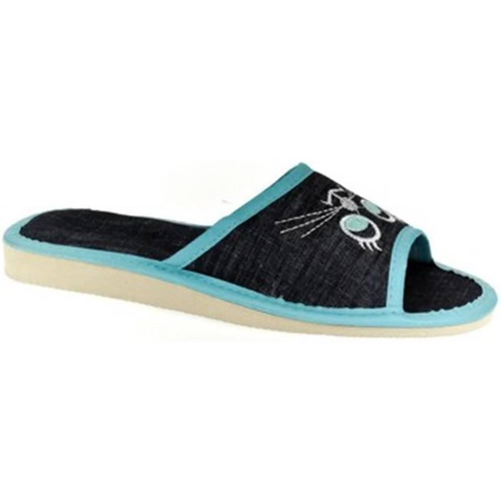 John-C Papuče John-C  Dámske tmavo-modré papuče CATTY