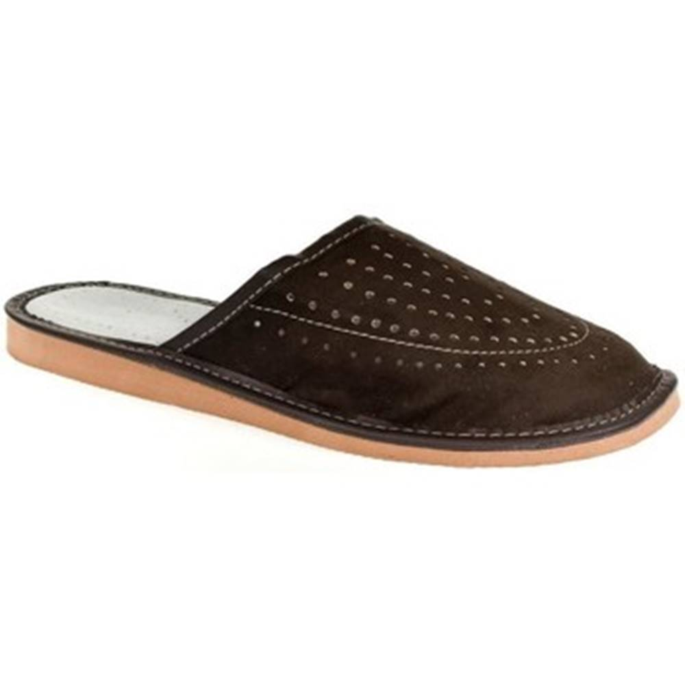 John-C Papuče John-C  Pánske hnedé papuče NICO