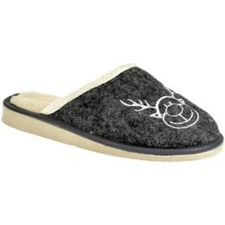 Papuče John-C  Dámske tmavo-sivé papuče JELENIK