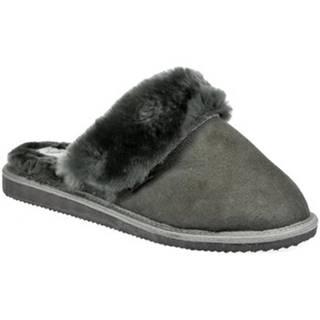 Papuče Just Mazzoni  Dánske luxusné kožené tmavo-sivé papuče MAVELLA