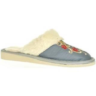 Papuče John-C  Dámske sivé kožené papuče PRIBINA