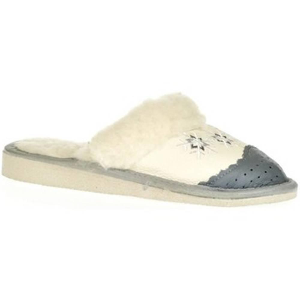 John-C Papuče John-C  Dámske biele kožené papuče NATAŠA