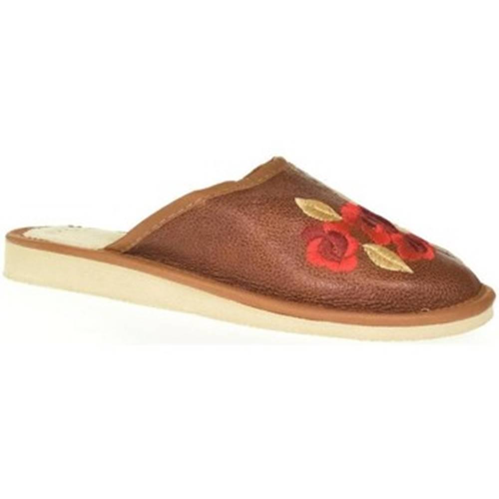 John-C Papuče John-C  Dámske hnedé kožené papuče VLASTA