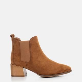 Hnedé dámske členkové topánky v semišovej úprave MUSK