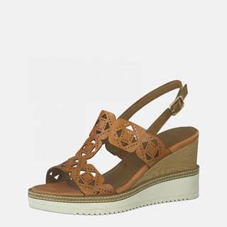 Hnedé kožené sandálky na plnom podpätku Tamaris