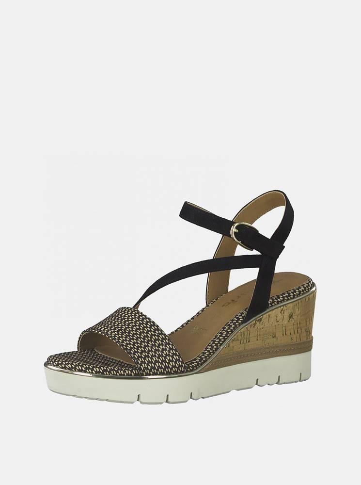 Tamaris Hnedo-čierne sandále na plnom podpätku Tamaris