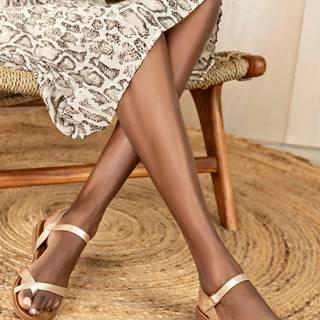 Béžové dámske lesklé sandále MUSK