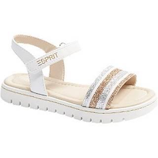 Biele sandále na suchý zips Esprit