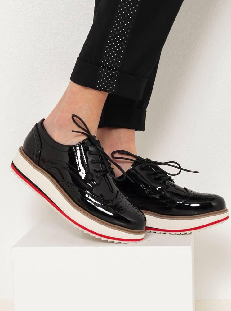 CAMAIEU Čierne brogue topánky CAMAIEU