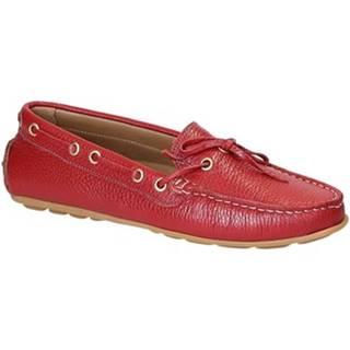 Mokasíny Leonardo Shoes  3040 VITELLO-GOMMA ROSSO