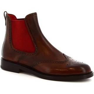 Polokozačky Leonardo Shoes  8032I18 TOM VITELLO DELAVE BRANDY
