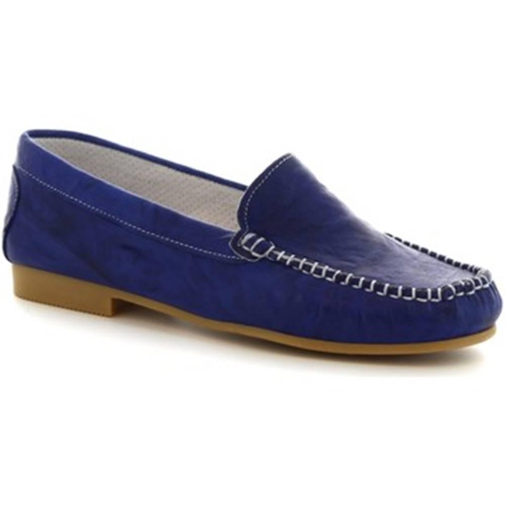 Leonardo Shoes Mokasíny  318  STROPICCIATO COBALTO FONDO GOMMA