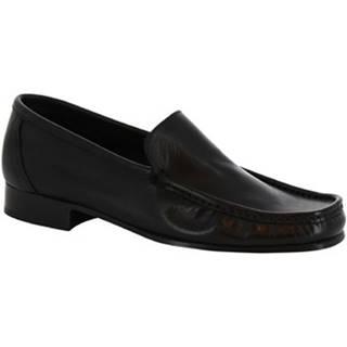 Mokasíny Leonardo Shoes  963 VITELLO NERO