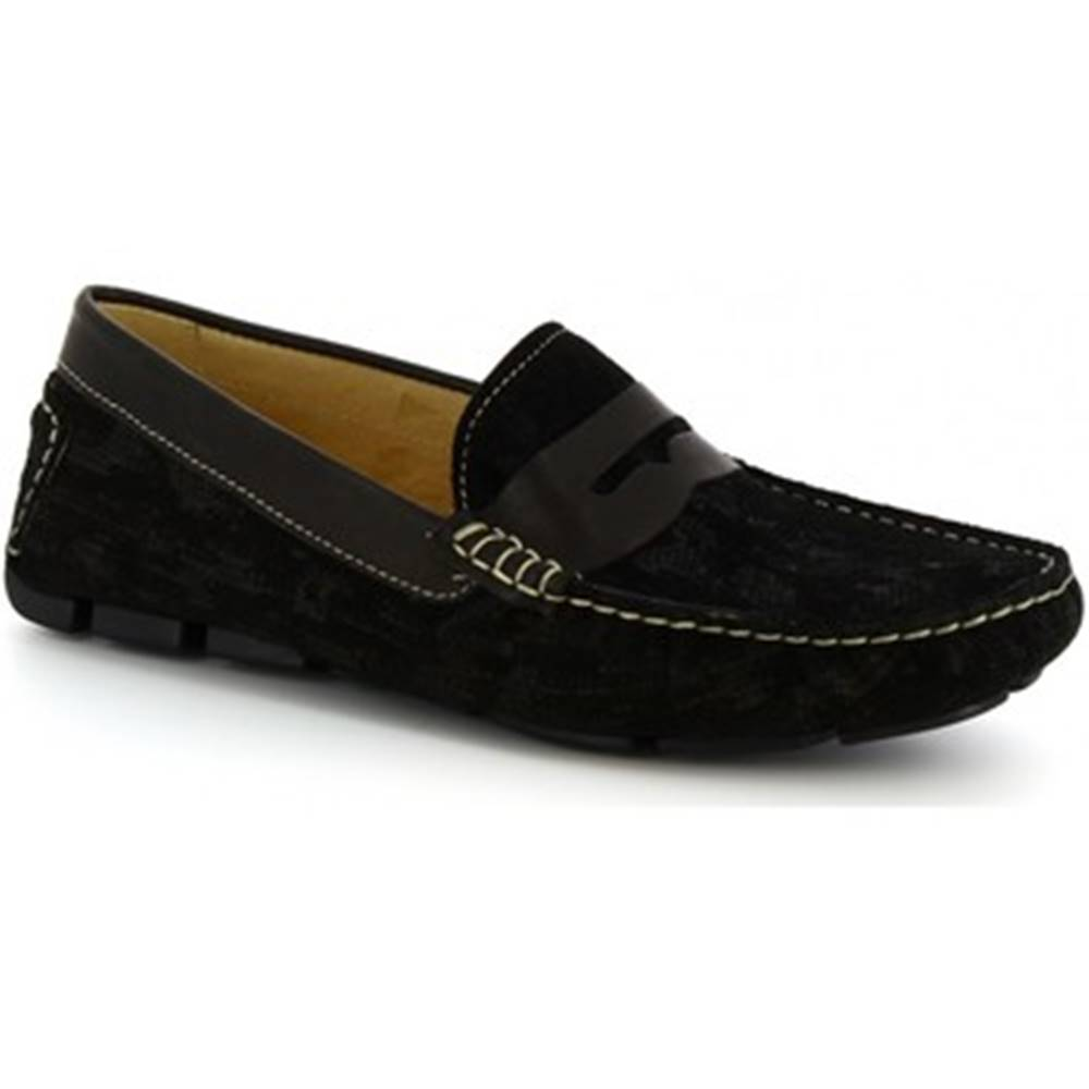 Leonardo Shoes Mokasíny Leonardo Shoes  504 NIAGARA CRUST NERO