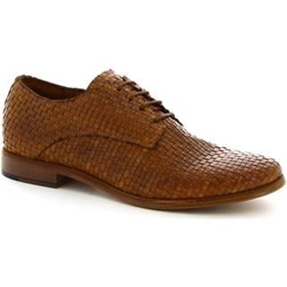 Derbie Leonardo Shoes  W027-46INT INTRECCIATO T. CUOIO