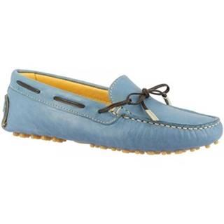 Námornícke mokasíny Leonardo Shoes  502 VITELLO BLU CHIARO PIOLI