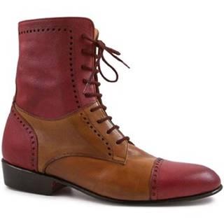 Čižmy do mesta Leonardo Shoes  PINA 046 ROSSO/CUOIO