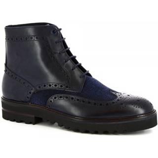 Polokozačky Leonardo Shoes  M631-24 S. F CALF/SEVENTY/BLU