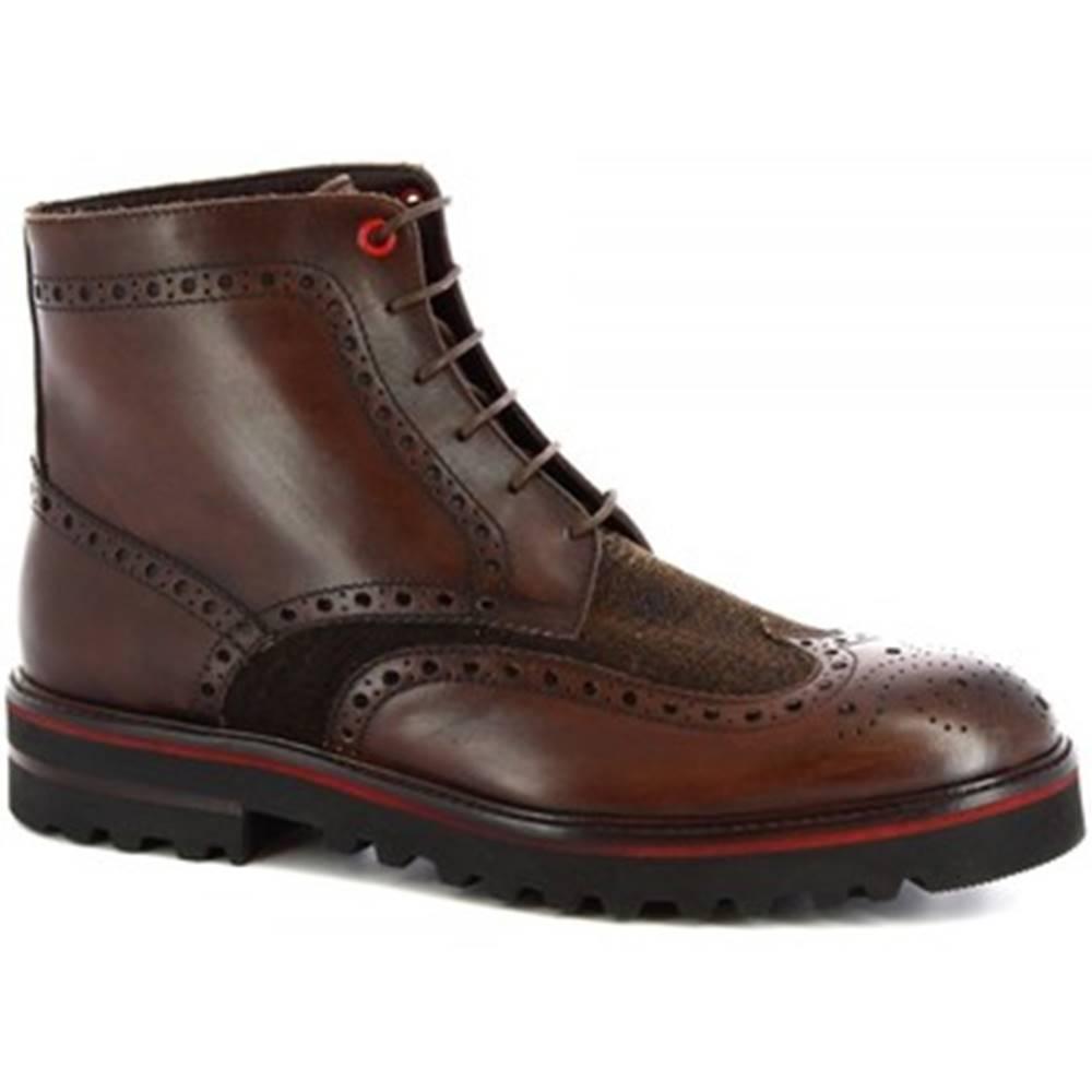 Leonardo Shoes Polokozačky Leonardo Shoes  M631-24 S. F CALF/SEVENTY/T. MORO