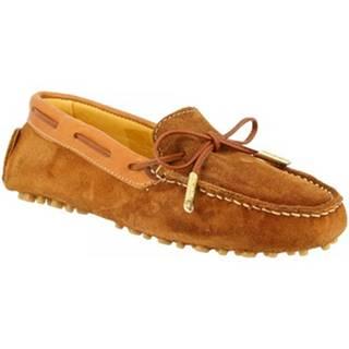 Námornícke mokasíny Leonardo Shoes  507 CAMOSCIO RUGGINE