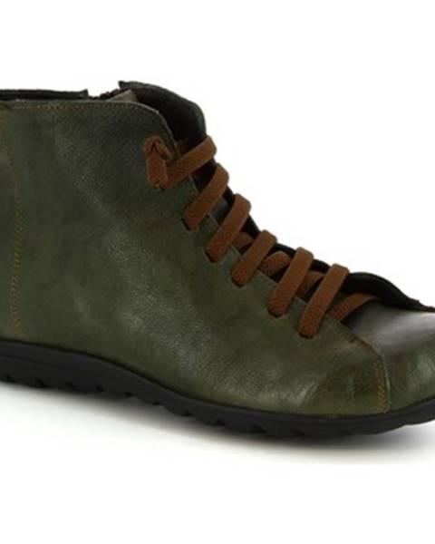 Zelené polokozačky Leonardo Shoes
