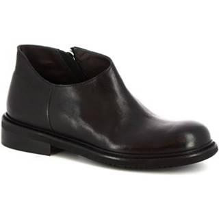 Polokozačky Leonardo Shoes  4701 ROK NERO