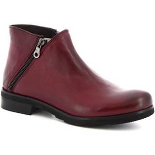 Polokozačky Leonardo Shoes  4719 ROK BORDEAUX