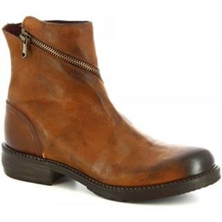 Polokozačky Leonardo Shoes  32525/1 OXID CRUST SMER LAV CUOIO S.