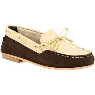 Mokasíny Leonardo Shoes  502 NABUK STRUZZO T. MORO BEIGE