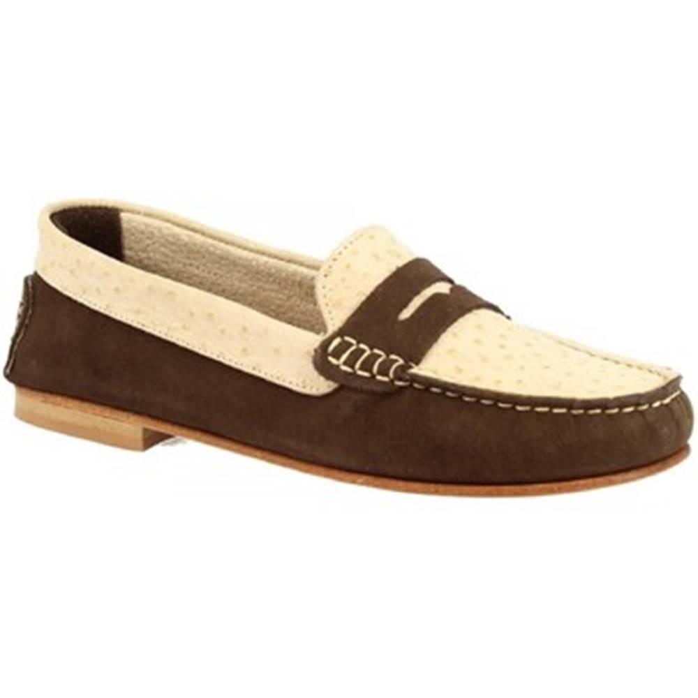 Leonardo Shoes Mokasíny Leonardo Shoes  503 NABOK STRUZZO T. MORO BEIGE