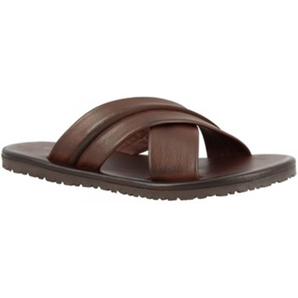 Leonardo Shoes Šľapky Leonardo Shoes  M6160 VITELLO MARRONE