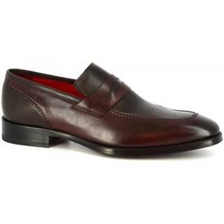 Mokasíny Leonardo Shoes  8227I18 VITELLO DELAVE BORDEAUX