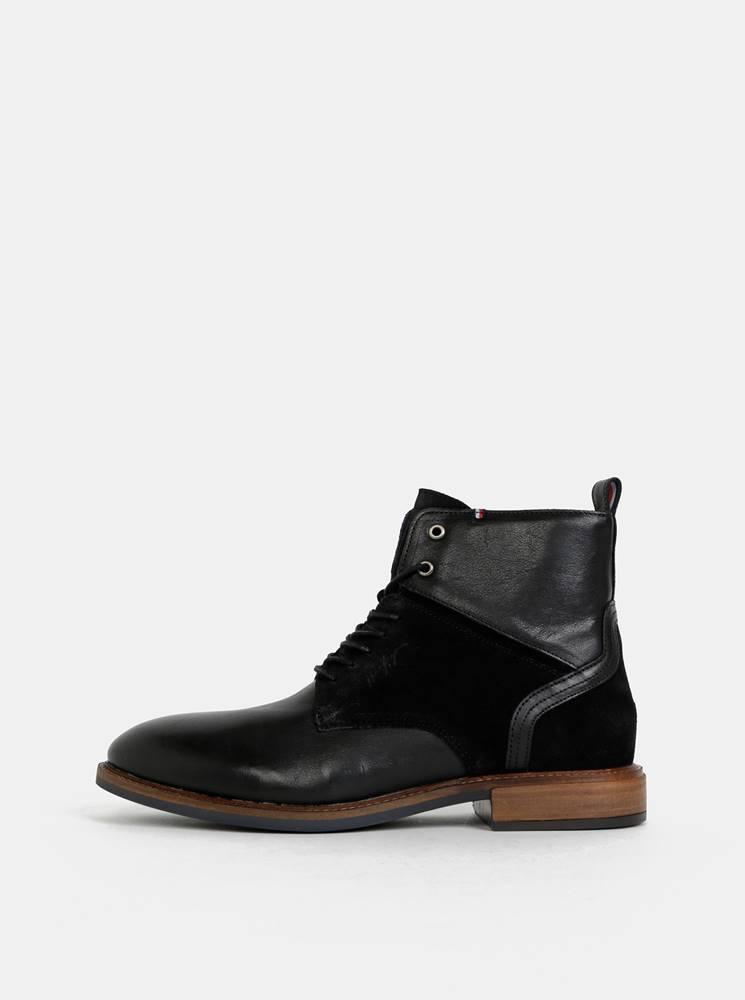 Tommy Hilfiger Čierne pánske kožené členkové topánky so semišovými detailmi Tommy Hilfiger